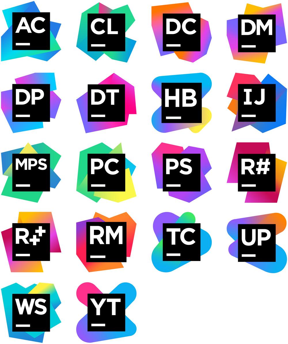 wszystkie logo Jetbrains