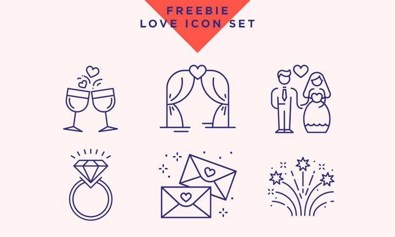 zestaw ikon ślub walentynki