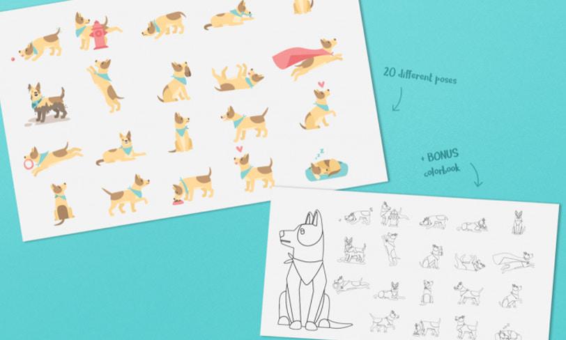 darmowe ilustracje ikolorowanki psy