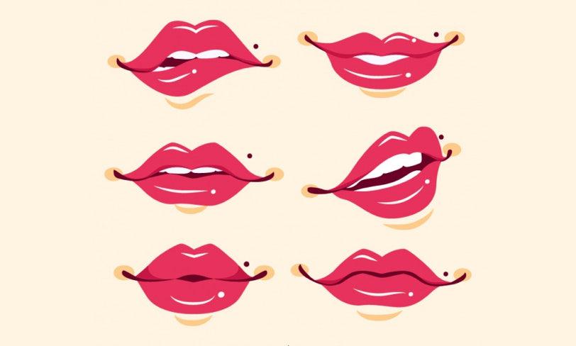 zestaw czerwonych wektorowych ust