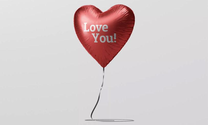 darmowy mockup balon serce