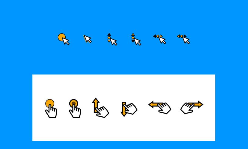 darmowe ikony gestów ux