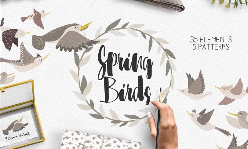 darmowe ilustracje – wiosenne ptaki
