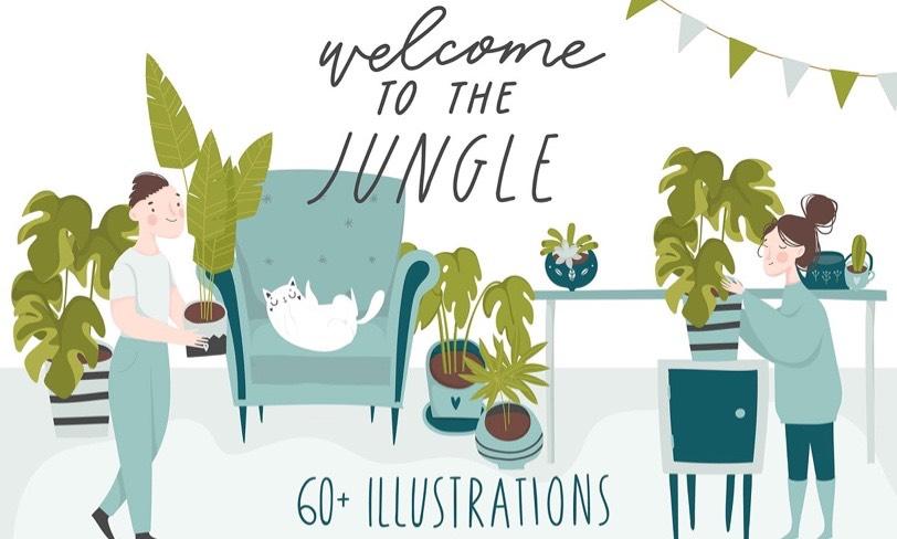 darmowy pakiet ilustracji – miejska dżungla