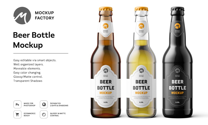 darmowy mockup butelki piwa