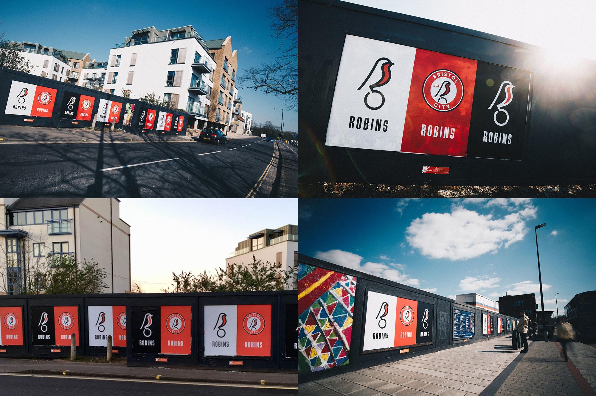 Plakaty prezentujące nowy wizerunek Bristol City FC