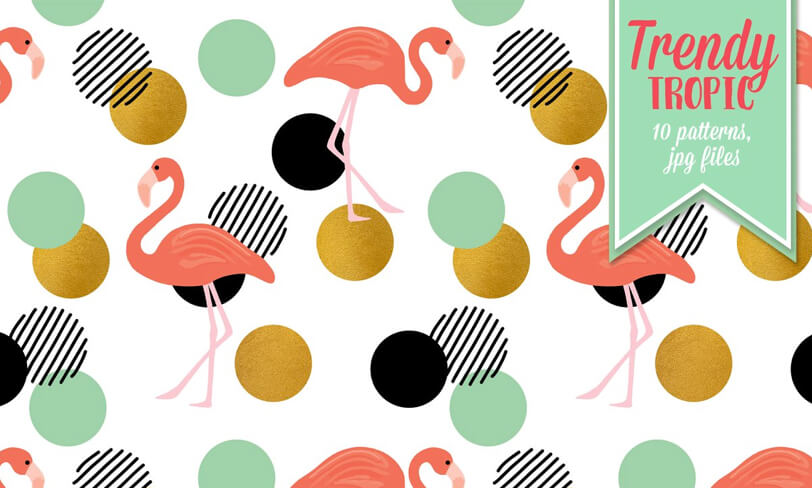 darmowy pattern flamingi