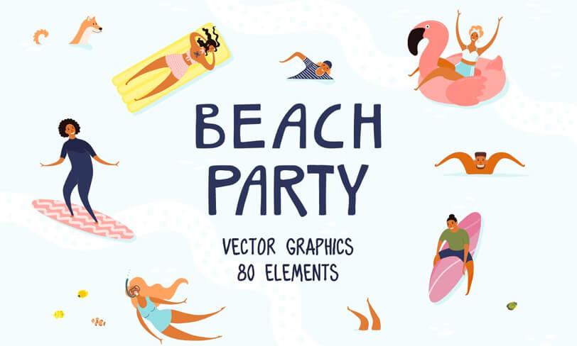 darmowe ilustracje beach party