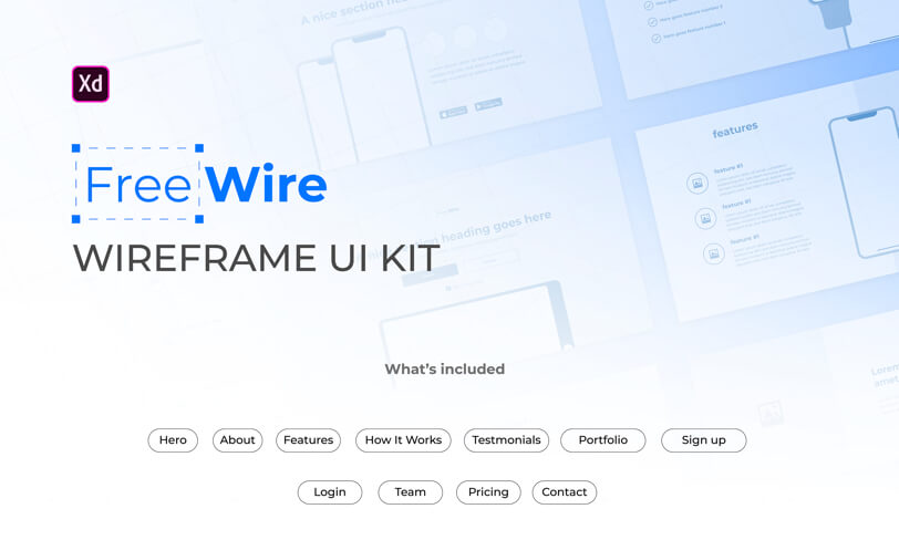 darmowy wireframe kit do adobe xd