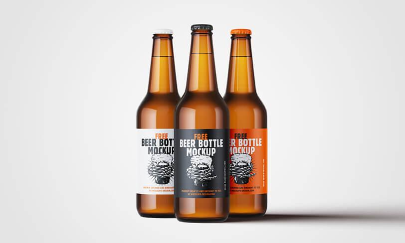 darmowy mockup butelek piwa