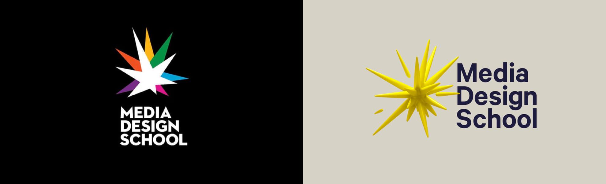 Stare inowe logo media design school znowej zelandii