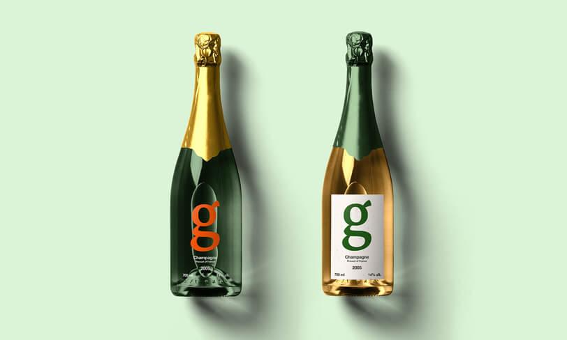 darmowy mockup butelki szampana