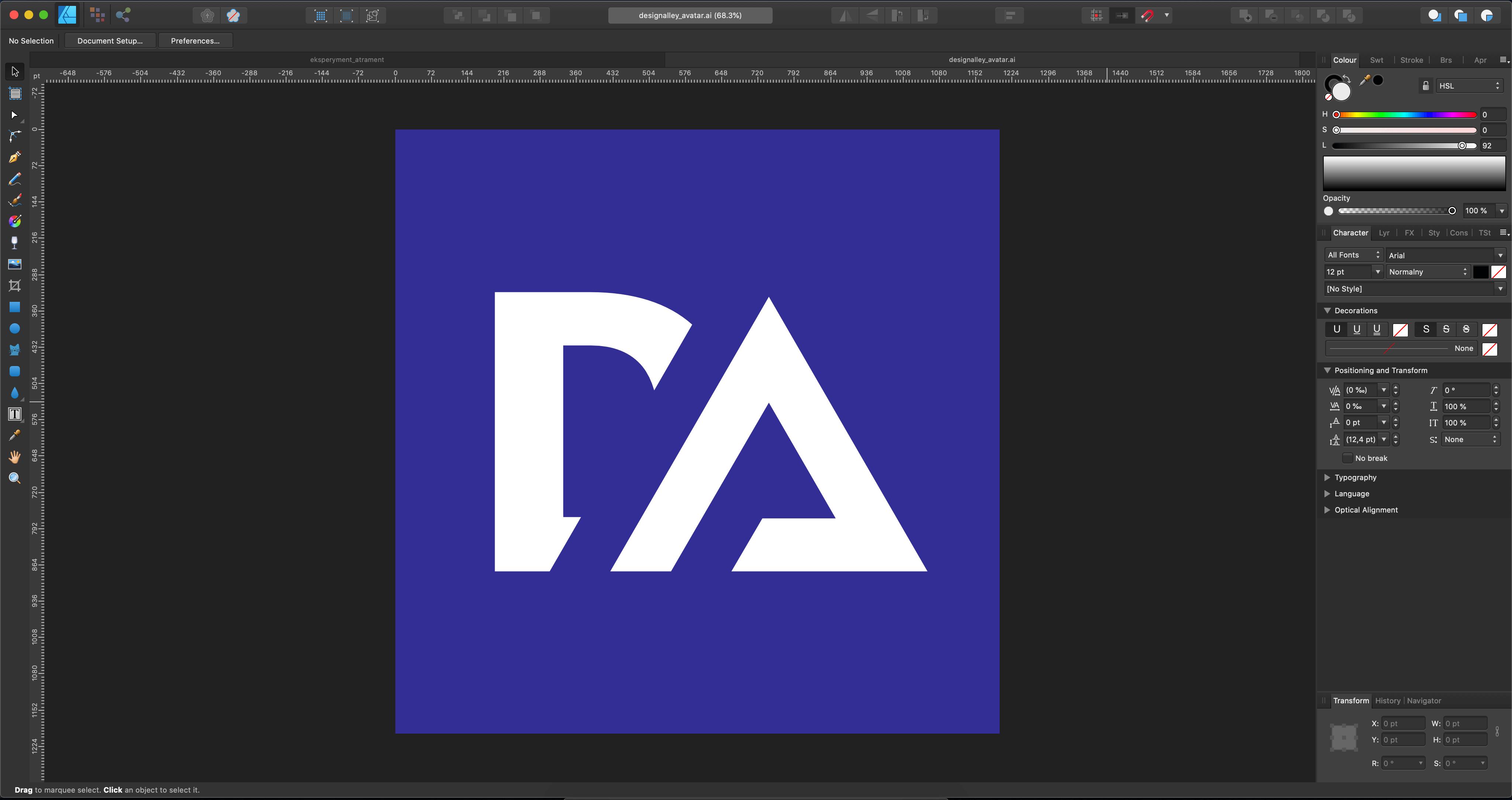 Affinity Designer Interfejs
