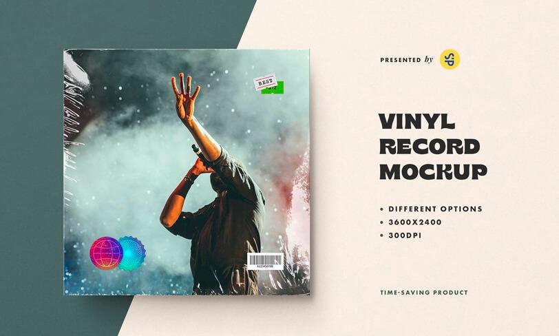 darmowy mockup okładki vinyla