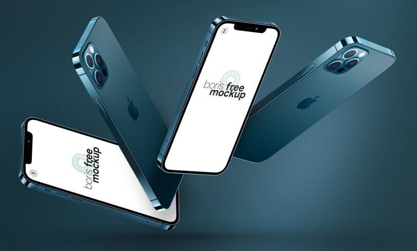 Floating iPhone 12 Pro MaxMockups byBoris Free Mockup