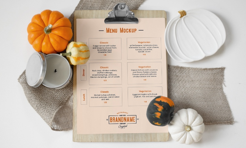 darmowy Mockup menu restauracja