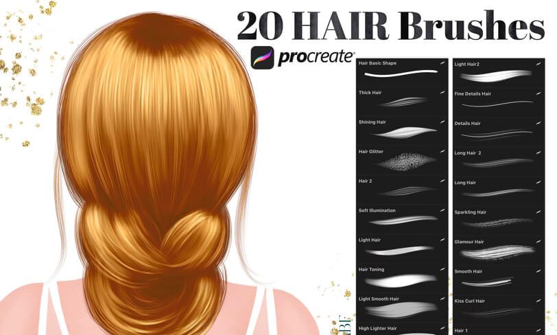 darmowe pędzle procreate domalowania włosów