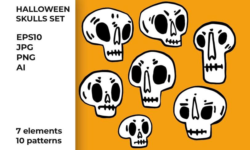 darmowe patterny czaszki halloween